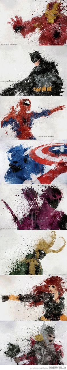 Beautiful Splatters of Superhero Characters…but how DARE they even put Batman on there with The Avengers? Not only is he a DC Comics Character, he doesn't even compare to MARVEL's Avengers. Heros Comics, Bd Comics, Funny Comics, Marvel Vs, Marvel Dc Comics, Marvel Films, Comic Books Art, Comic Art, Digital Art Illustration