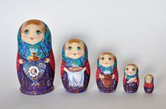This Matryoshka ( 5 in 1) , a traditional Russian nesting doll, represents a beautiful young Russian girl in conventional national dress. Its a wonderful piece of artwork made by a talented Russian artist. The Matryoshka was painted with tempera and acrylic. It is an original work of art signed by the artist. It will be a perfect gift or a unique decoration for your home. The height of the biggest doll is 14,5 cm (5,7 inches)