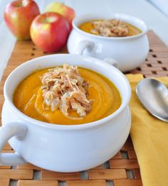 Squash Soup with Caramelized Onions.  One of the easiest soups you will ever make, it looks beautiful and tastes amazing!