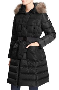 709b877af9b4 Moncler  Khloe  Water Resistant Nylon Down Puffer Parka with Removable  Genuine Fox Fur Trim