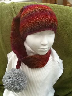 Cranberry Rainbow Elf Long Crocheted Hat with Pom Pom, 2 to 5 years! £14.00 Crochet Hook Sizes, Crochet Hooks, Knit Crochet, Small Flower Arrangements, Animal Fibres, Handmade Christmas Decorations, Pom Pom Hat, Yarn Colors, Hand Coloring