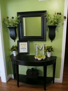 Mirror and small table for entry way