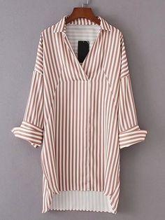 Vestido camisero asimétrico de rayas verticales -Spanish Romwe Sitio Móvil
