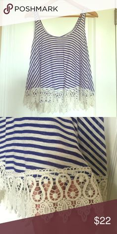 Blue and White Stripe Crochet Tank Never worn! I love the crochet detail at the bottom. From a boutique Boutique Tops Tank Tops