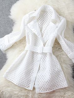 Women's Fashion Turn-Down Collor Lace Trench Coat White