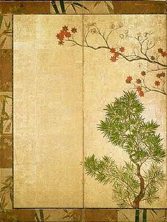 Detail. Ogata Korin. Shinfu screen. Almost a direct copy of Chinese Black Pines by Sotatsu. Japanese folding screen. Eighteenth century.