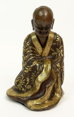 Chinese Probably Qianlong (1711-1799) Parcel Gilt Copper Lohan Figure. Unsigned. Good Condition. Measures 6-1/2 Inches Tall and 4 Inches Tall.