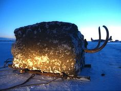 That's no ordinary block of ice. The Jarkov Mammoth, shortly after it was found in 1997