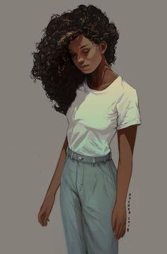 Super Ideas For Hair Curly Girl Drawing Character Inspiration Black Girl Art, Black Women Art, Black Art, Art Girl, Art Women, Character Inspiration, Character Art, Fashion Inspiration, Character Sketches