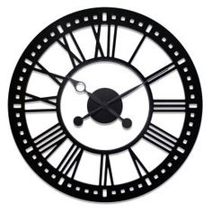 This 38 inch River City Clocks indoor wall clock is the perfect addition to any home or office. The black roman numeral dial incorporates your wall as the clock background. It can easily be mounted on any wall with a two screws.