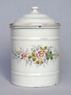 Early Graniteware Floral Decor Kitchen Canister -Etoile P.E.N.