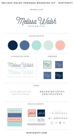 Melissa Walsh Premade Branding Kit Brand Kits & Mood Boards example for the Elevate Your Biz Emails™ eCourse by Boosting Your Brand™ Brand Identity Design, Corporate Design, Brand Design, Blog Website Design, Blog Design, Logo Vert, Web Design, Branding Kit, Brand Style Guide