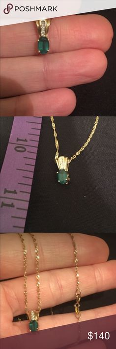 Emerald and diamonds pendant with gold chain. Emerald and diamonds pendant. Not sure what gold k it is.. one emerald and 3 diamonds on a gold chain. The pictures don't do it justice, it's beautiful! Still not sure if I want to sell this, but I haven't worn it in years. NOT pandora, listed for exposure. Pandora Jewelry Necklaces