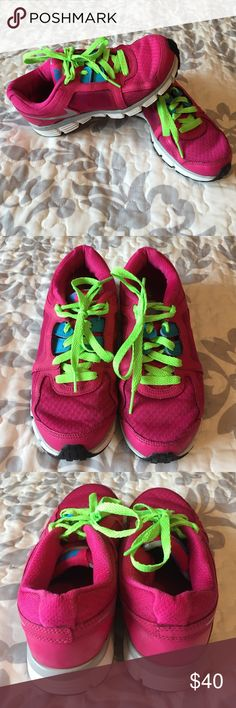 Pink & Neon Green Nike Athletic Shoes These shoes are very clean & have lots of wear left.  See photos for condition.  Comes from smoke-free home.  Make sure to bundle for additional savings.  Nike Shoes Athletic Shoes