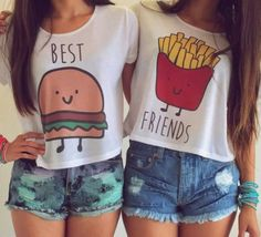 Best Friend Shirts,..@vlopez2631 I am the hamburger!!!! Vicky is the fries!!! Lol