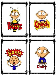 Onomatopoeia Poster, Cards, and Student Pages - Featuring Goofus! $