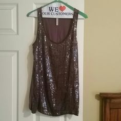 Gorgeous sequin tank Plum like color. Sequin front and cotton back. Worn once. Excellent Condition no snags or missing sequins New York & Company Tops Tank Tops