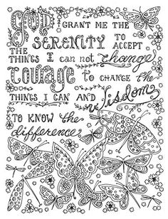 Serenity Prayer - Prayers to color - Google Search #Scriptures #AdultCP