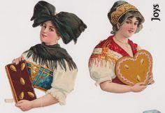 Oblate, Glanzbilder- Frauen mit Lebkuchen von L&B selten  - E