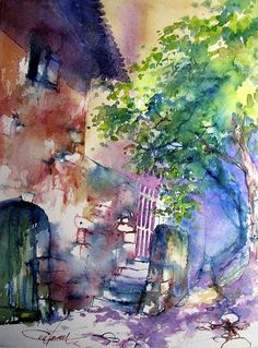 The barrel cellar. Christian Couteau #watercolor jd