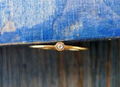Petit Diamond Ring.  Tiny Dainty Gold And Diamond Ring. 100% recycled gold. Handmade.