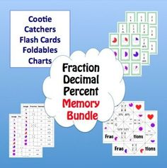 Fraction Decimal Percent Memory Bundle.  Cootie Catchers, Flash Cards and Foldables  Now there is no excuse for students not to learn their fractions!