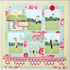 I really love the grid feel of this LO.  Reminds me a bit of the twopeas scrapbook stamping LO for August.  Uses October Afternoon.