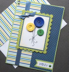 Birthday Card with Matching Embellished Envelope - Balloons Handmade Greeting Card Designs, Handmade Cards, Easy Cards, Button Cards, Making Cards, Card Tags, Happy Birthday Cards, Diy Projects To Try, Kids Cards