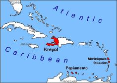 caribbean map islands with french creole language