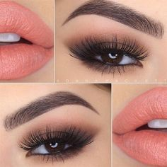 Smoky Eyes and Peach Lips by @danapackett #pampadour #smokyeye #Tartelette #palette #makeup #beauty #eyeshadow