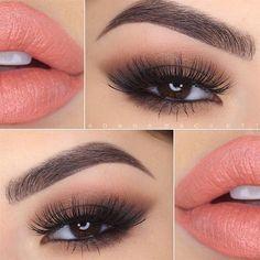 Smoky Eyes and Peach Lips by @danapackett #pampadour #smokyeye #Tartelette #palette #makeup #beauty #eyeshadow