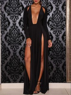 Black Cut Out Split Side Ruffle Maxi Dress