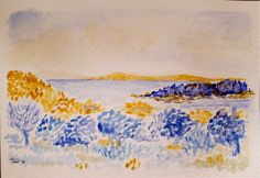 Small watercolour of a HE Cross seascape, painted in France March 2015