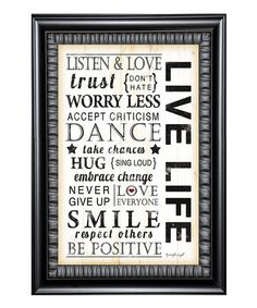 This 'Live Life' Framed Wall Art is perfect! #zulilyfinds