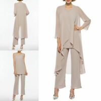 Long Sleeves Pants Suits Chiffon Mother of the Bride Dresses V-Neck Formal Prom