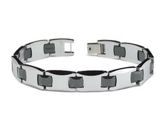 This bracelet has tungsten carbide and ceramic links. Length: width: Made of the hardest metal alloy on Earth: tungsten carbide. Men's Jewelry Store, Hard Metal, Tungsten Carbide, Ceramic Jewelry, Link Bracelets, Wedding Bands, Bangles, Belt, Ceramics