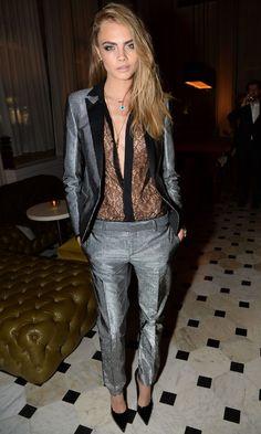 Cara Delevingne in Saint Laurent at London Fashion Week