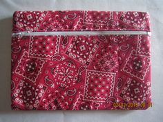 "8"" Cosmetic Bag / Make Up Bag / Pencil Pouch - Reddish Pink Bandana by ShawnasSpecialties on Etsy"