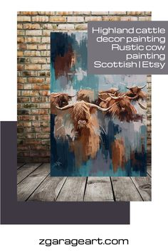 prints available framed and on canvas Large Canvas Art, Canvas Frame, Canvas Art Prints, Cow Painting, Painting & Drawing, Highland Cattle, Garage Art, Cow Art, Horse Drawings
