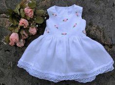 Baby-Taufkleid, Baby hochzeits kleid, Baby festkleid, Baby mädchen taufe. Baby kleid festlich, Baby-Leinentaufkleid, Weißes Babykleid
