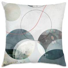 Oliver Gal 'River Stones' Decorative Throw Pillow, Blue, Size 18 x 18 (Microfiber, Geometric)