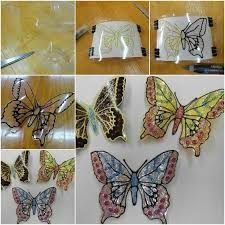 diy-plastic-bottle-butterflies led lights would be awesome behind these DIY Glitter Butterfly from Plastic Bottles - Easy plastic bottle butterfly craft project How to Make Glitter Butterfly from Plastic Bottles tutorial and instruction: for the garden Le Garden Crafts For Kids, Kids Crafts, Diy And Crafts, Craft Projects, Arts And Crafts, Plastic Bottle Flowers, Plastic Bottle Crafts, Recycle Plastic Bottles, Plastic Craft