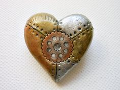 industrial steampunk heart brooch Polymer Clay Creation