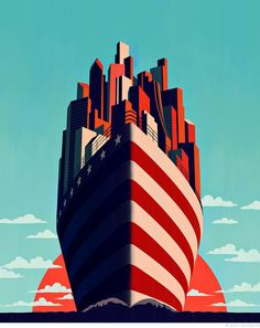 Joey Guidone - A New Horizon For America. Cover, Magazine, Poster, Americana, Ship, Cityscape, City, Flag