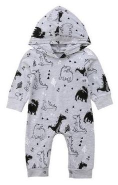 0914c7e740f8 Baby Boy Romper Long Sleeve Hooded Grey and Black Dinosaur Print Black Baby  Boys