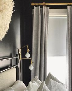 Black Gold Bedroom West Elm - Black wall with soft grey curtains (and gold rods) - These versatile metal rings come with removable clips that can be used on curtains with or without drapery hooks for easy hanging. Gold Curtain Rods, Metal Curtain, Curtains For Grey Walls, Gold Curtains, Sheer Drapes, Black Gold Bedroom, Black Walls, Black Bedrooms, Striped Accent Walls