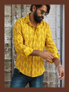 """Camisa de hombre de manga larga en algodón estampado a mano con la técnica tradicional india """"Blockprint"""". Algodón muy suave y agradable."""
