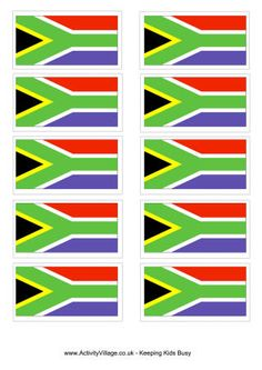 South African flag printable and colouring page for Teddy night South Africa Rugby, South Africa Map, Africa Flag, South African Poems, South African Flag, Africa Mission Trip, Africa Cake, Welcome Home Parties, Come Dine With Me