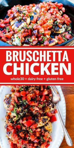 whole 30 recipes Healthy Bruschetta Chicken contains many of the flavors you love from traditional bruschetta but now you can enjoy it for dinner! This one is a family favorite for good reason! Plus its dairy free, and gluten free! Healthy Banana Bread, Think Food, Whole Food Recipes, Recipes Dinner, Whole 30 Chicken Recipes, Chicken Flavors, Best Healthy Recipes, Whole 30 Meals, Healthy Life