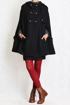 black cape Wool Cape Cashmere coat Black coat double by FM908, $98.00